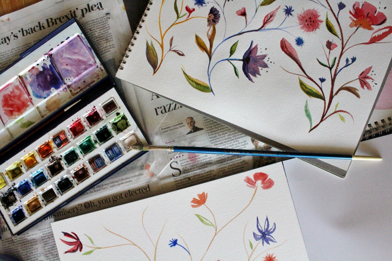 Watercolour paints and painting