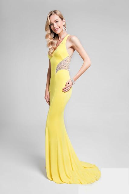 mermaid yellow prom dress