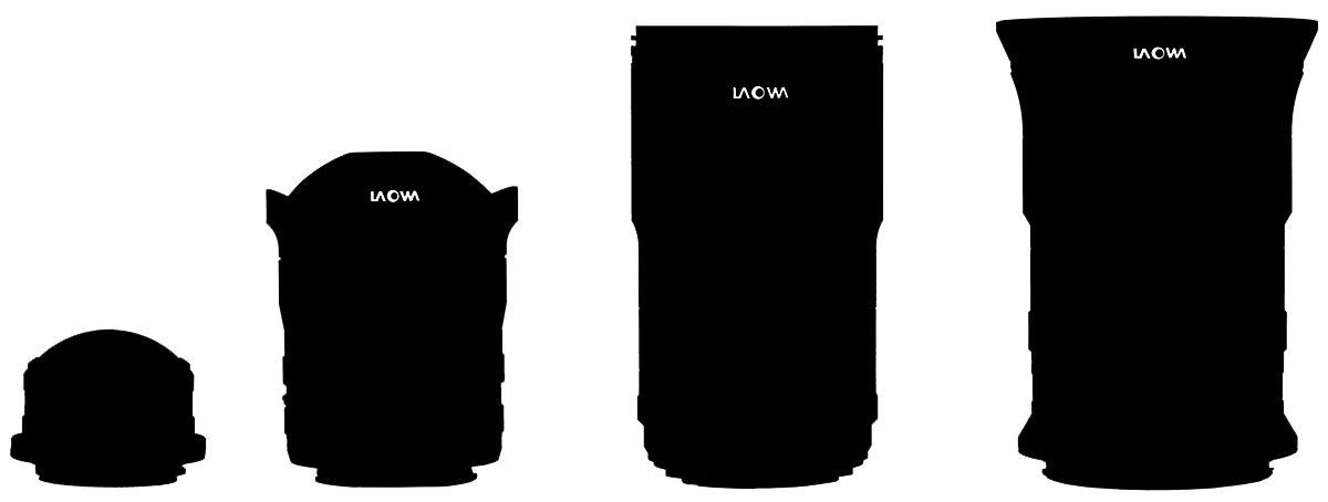 Схематично нарисованные объективы Laowa