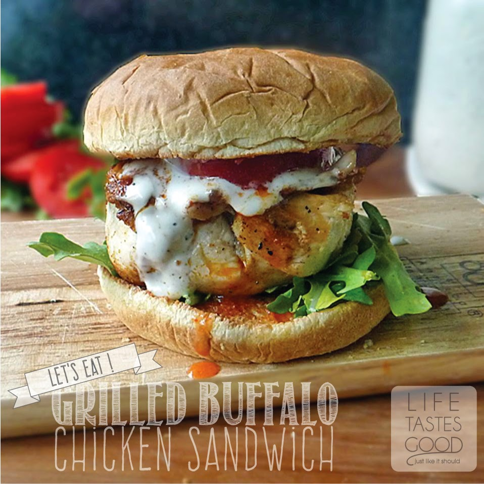 Grilled Buffalo Chicken Sandwich Recipe | by Life Tastes Good is like eating Buffalo Wings but the bun keeps your hands clean! How great is that? #Sandwich #GrilledChicken #BuffaloWings
