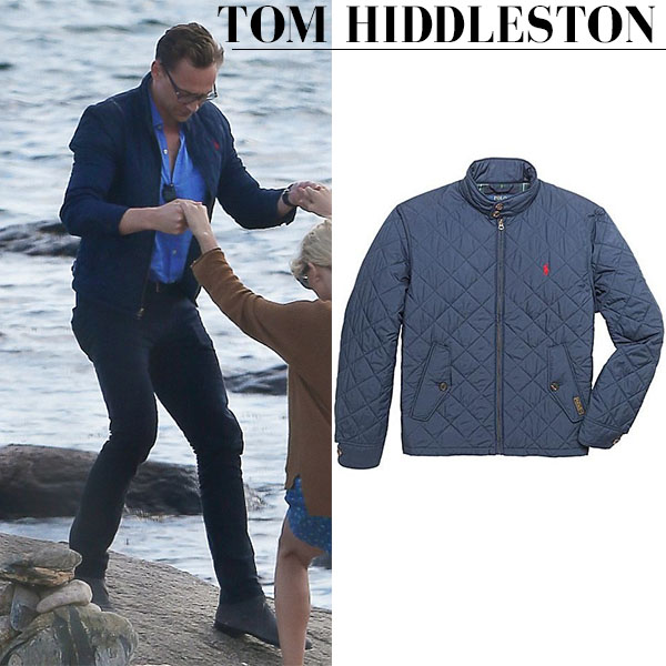 Tom Hiddleston in blue quilted jacket ralph lauren barracuda