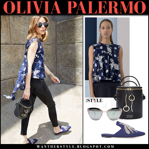 Olivia Palermo in blue floral top, black pants and blue flat sanayi 313 mules Meli Melo campaign 2017