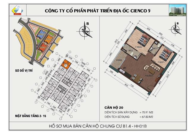 Sơ đồ căn hộ chung cư B1.4 căn 20 tòa HH01B