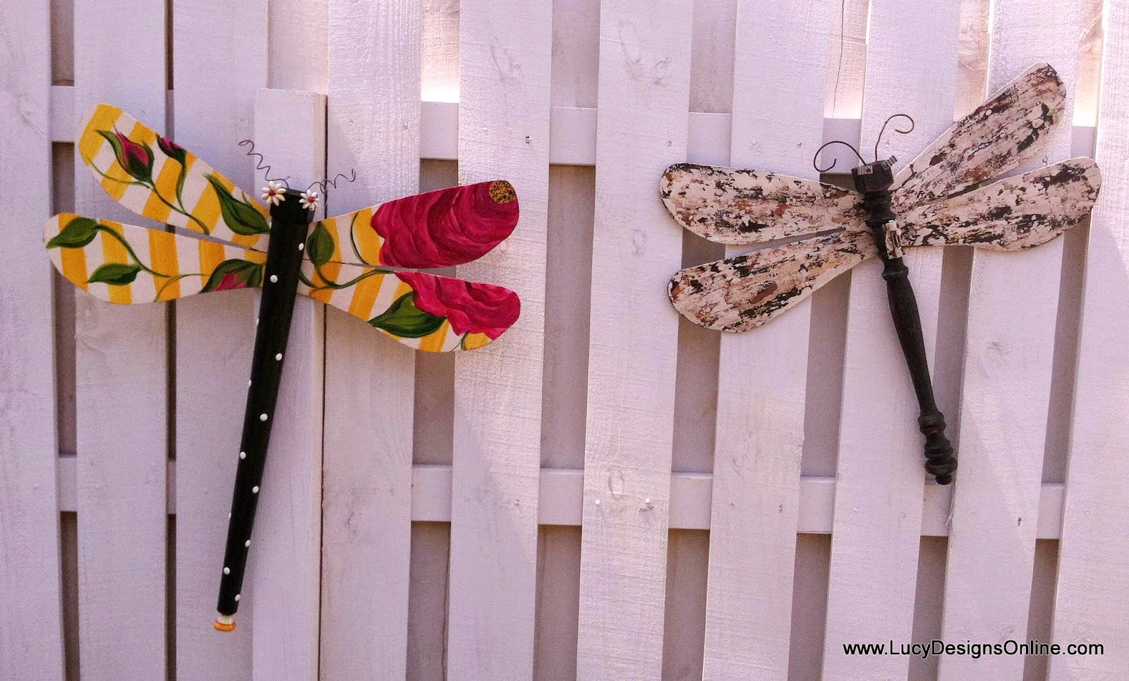 dragonflies recycled garden art