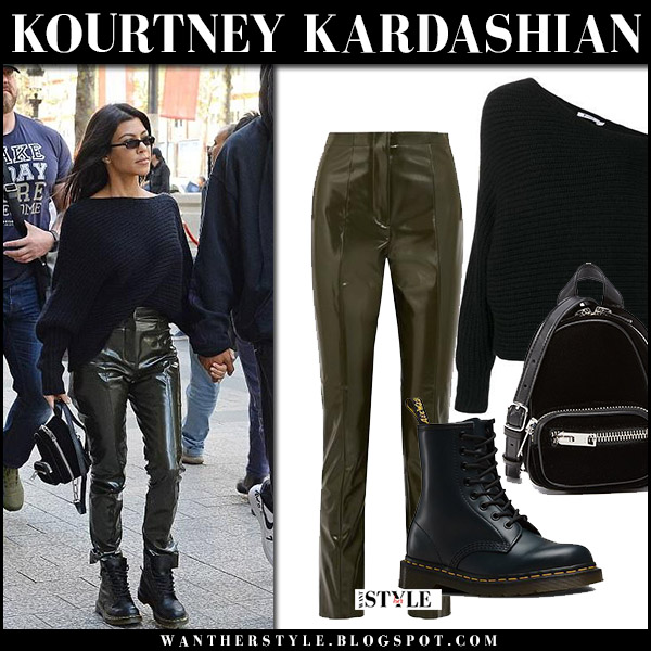 Kourtney Kardashian in black knit sweater, green acne vinyl pants and black army boots september 26 2017 street fall fashion edgy