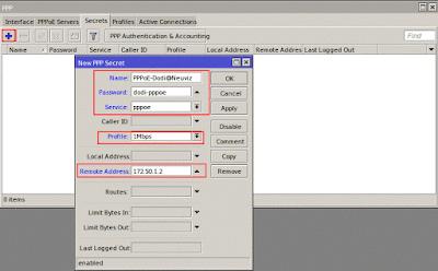 Membuat pppoe secret username dan password untuk client pppoe
