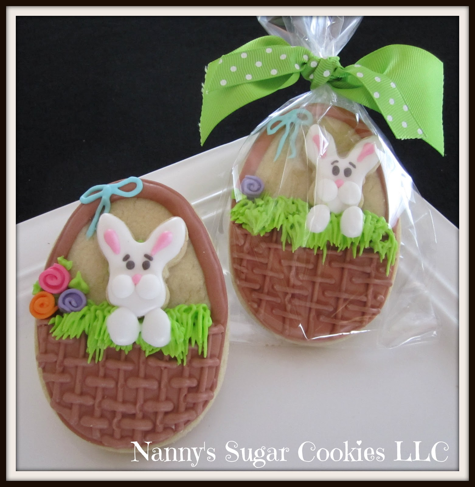 Nannys sugar cookies llc easter cookie favors 2018 brown easter basket with mini bunny face negle Images