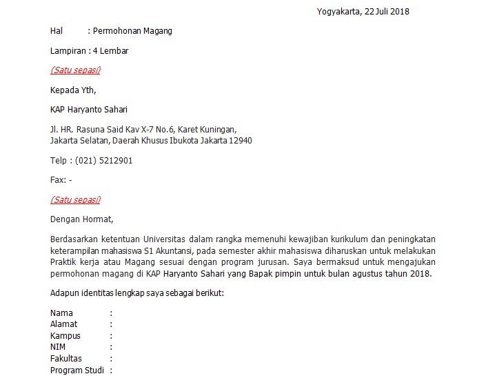 Contoh Surat Permohonan Bisa Magang Dikantor Akuntan Publik Triharyono Com