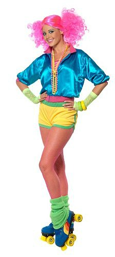 Neon 80s disco girl in hot pants