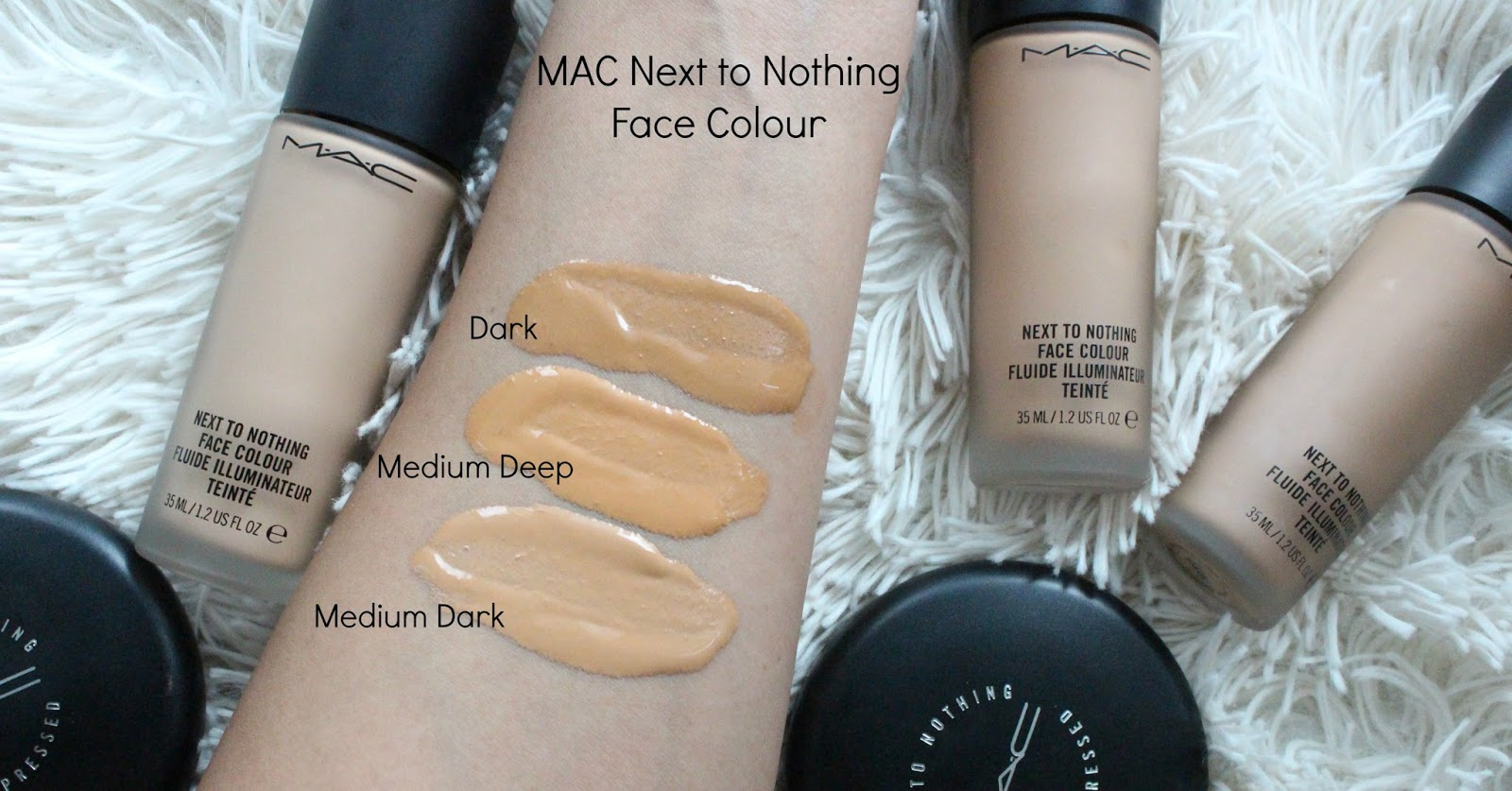mac next to nothing face color swatches