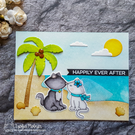 Kitty Anniversary Card by Zsofia Molnar | Newton's Christmas Cuddles Stamp Set by Newton's Nook Designs #newtonsnook #handmade