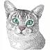 Grey home cat photo stitch embroidery free design #54