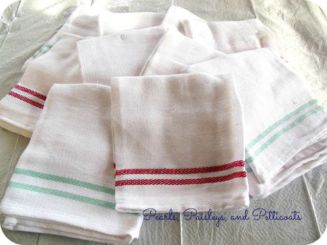 DIY stenciled dish towels