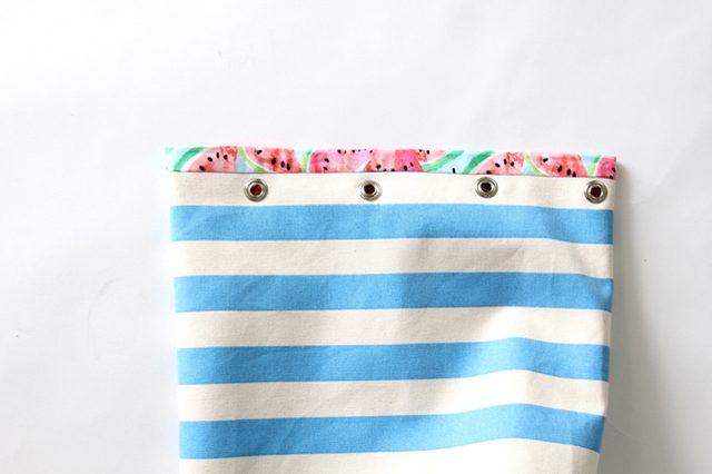 resimli el yapımı ipli plaj çantası