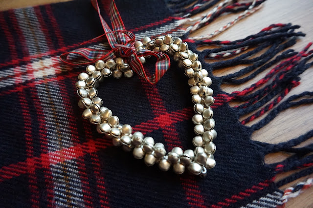 Bell Heart Decoration on Check Scarf