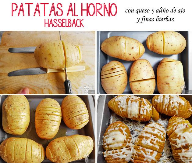 Patatas al horno con queso estilo Hasselback