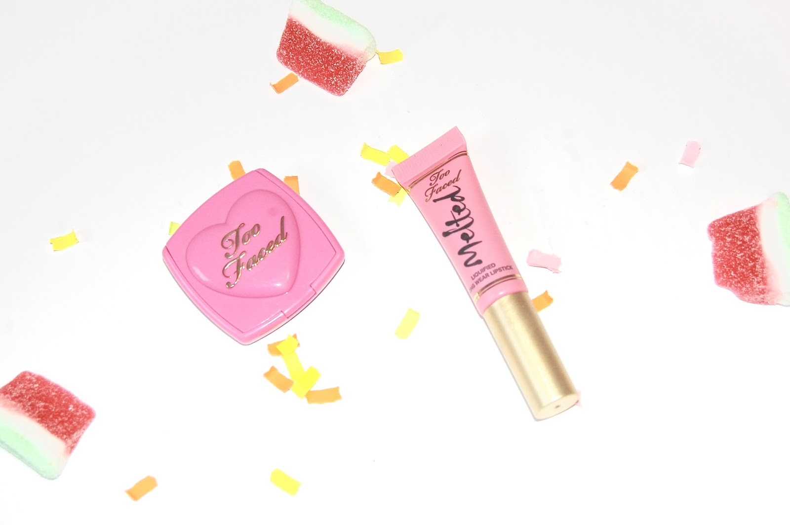 Too Faced Peony lipstick and Justify My Love blush duo