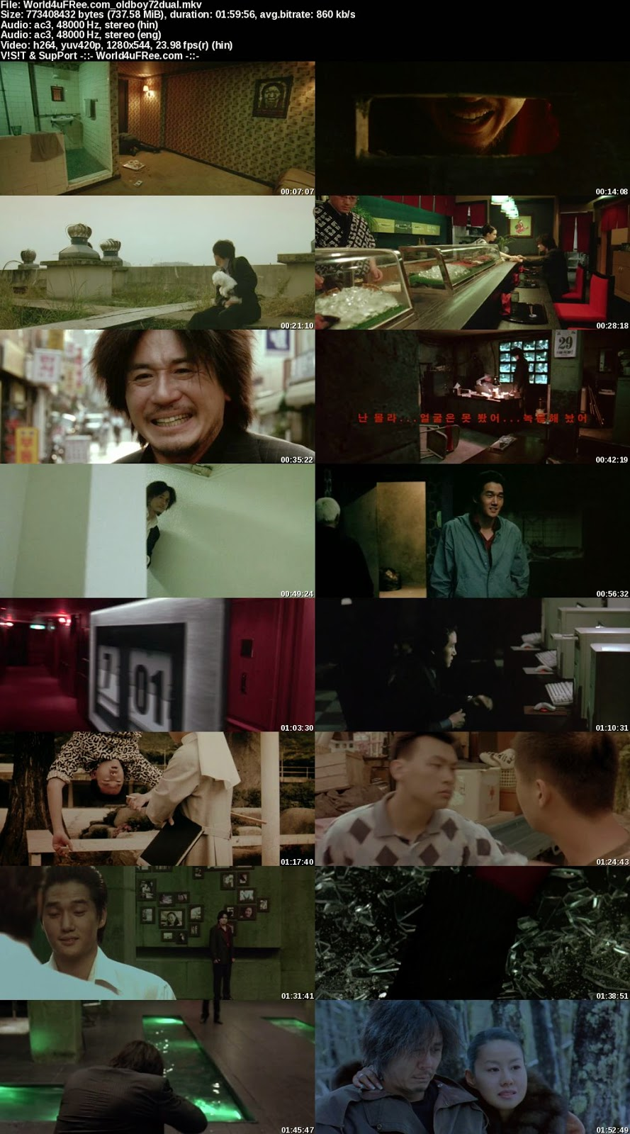 Oldboy 2003 [Hindi Eng] Dual Audio 720p BRRip 700mb