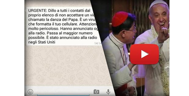 Vídeo a Dança do Papa e o falso virus do Whatsapp