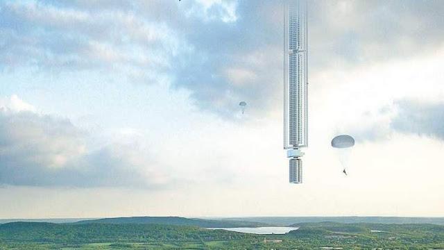 Ilustração de como ficaria a enorme torre presa ao asteroide