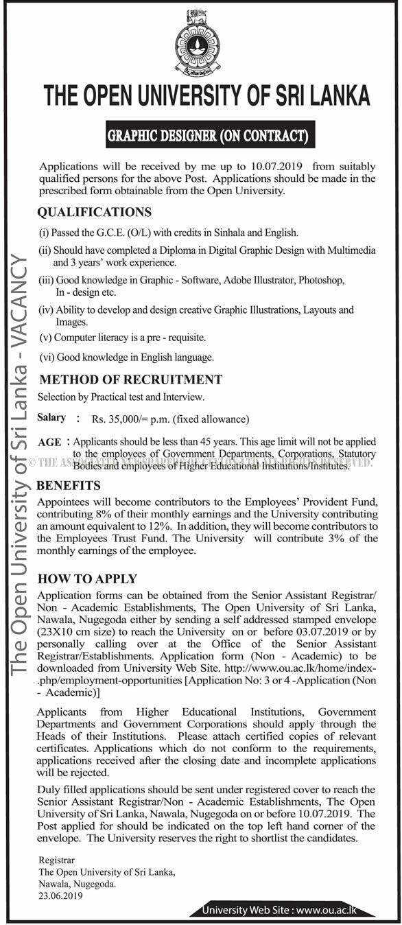 Vacancies at The Open University of Sri Lanka