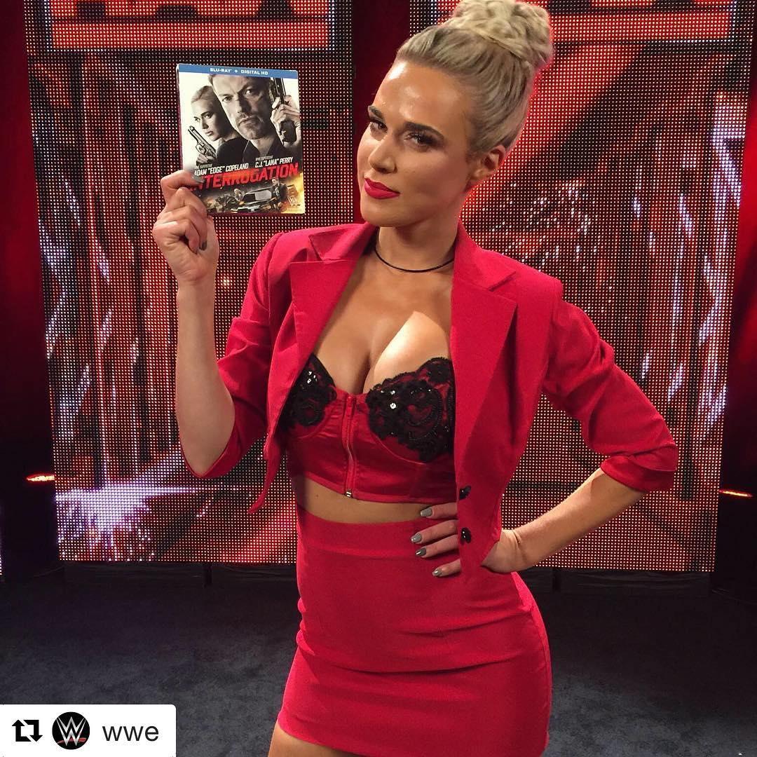 Lana of WWE promoting her film Interrogation.