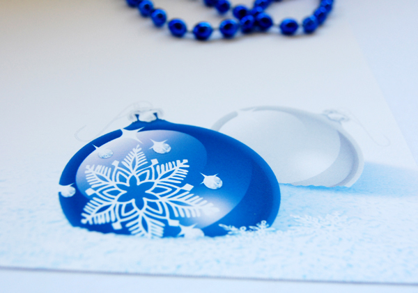 Upclose photo of the Cobalt Christmas Postcard from Paper Direct