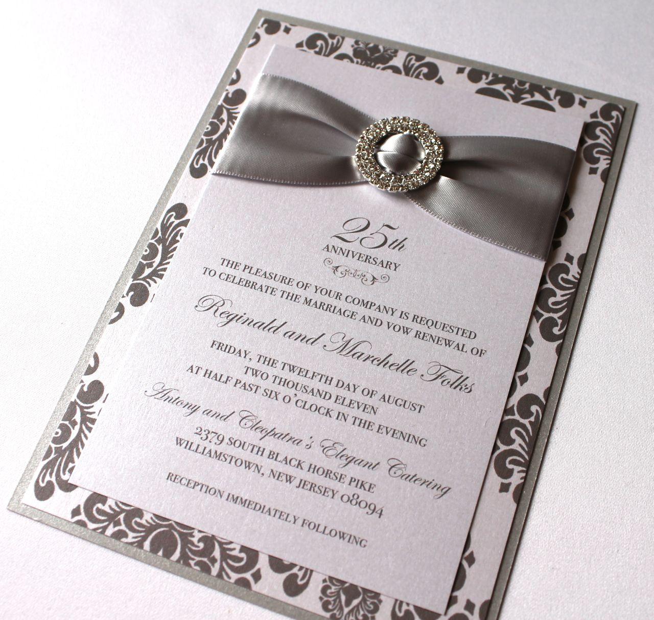 Wedding Anniversary Invitations: Embellished Paperie: 25th Anniversary Invitations, Silver