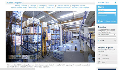 screen grab of Kuehne + Nagel webpage
