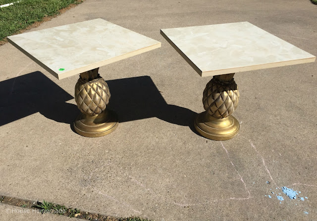 Pineapple table with DIY concrete top: before