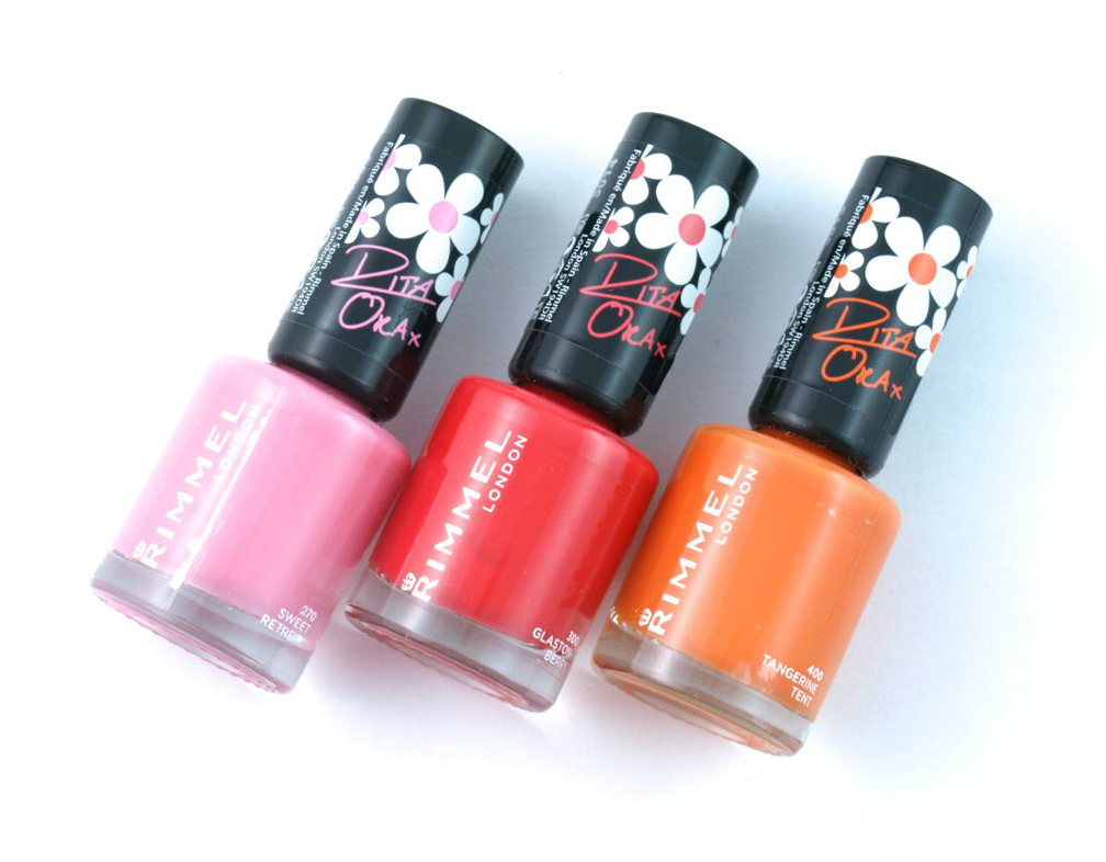 "Rimmel London 60 Seconds Nail Polish by Rita Ora in ""270 Sweet Retreat"", ""300 Glaston-berry"" & ""400 Tangerine Tent"": Review and Swatches"
