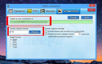 screenshot menggunakan fraps