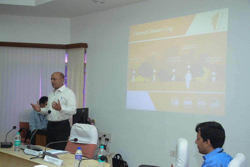 Mr. Raj Cherubal, CEO of the Chennai Smart City Mission, delivering an address on Day One of the 2nd General Assembly meeting held at IIT Madras on 6th and 7th February 2018