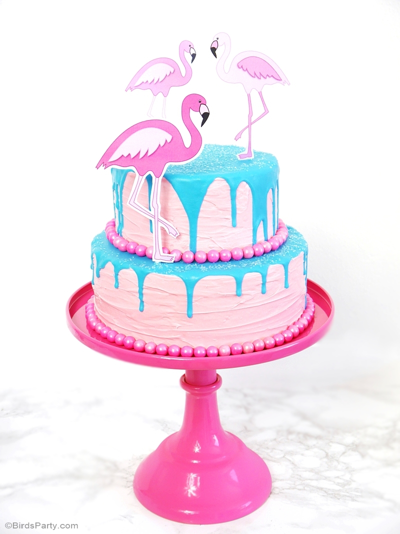 Flamingo Pool Party Birthday Drip Cake - BirdsParty.com