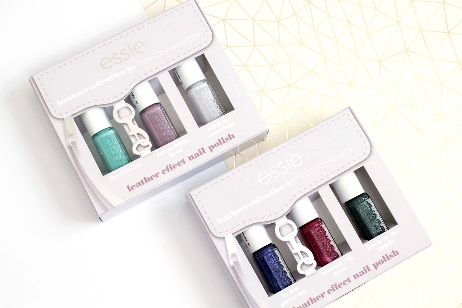 The Essie Leather Collection By Rebecca Minkoff Is Being Released In Two Separate Mini Kits They Arrive Cutest Box Which Has Been Designed To
