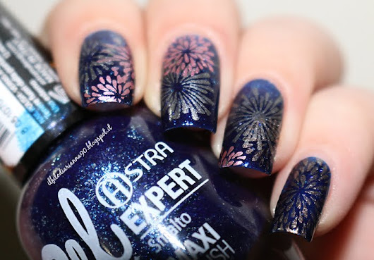 "Nail Art:: "" Happy New Year Fireworks"" with Stamping Plate hèhè 049"