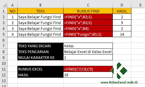 Mencari Teks dengan Fungsi FIND Microsoft Excel
