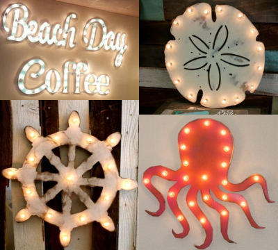 Coastal Nautical Marquee Light Signs