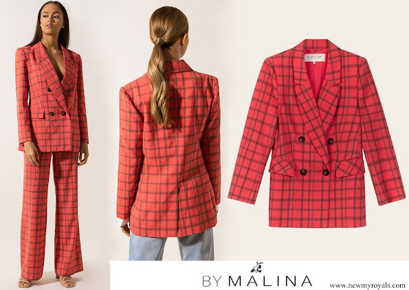 Crown Princess Victoria wore By Malina flora coral checker blazer and celia pants