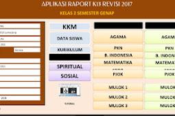 Unduh Aplikasi Raport K13 SD Revisi 2017 Kelas 2 Semester 2