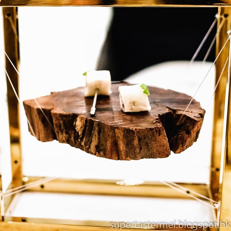True To The Chefs Background As A Graphic Designer Artist Our Amuse Bouche Of Smoked Eel And Negi Arrived In Style On Piece Wood Suspended Air