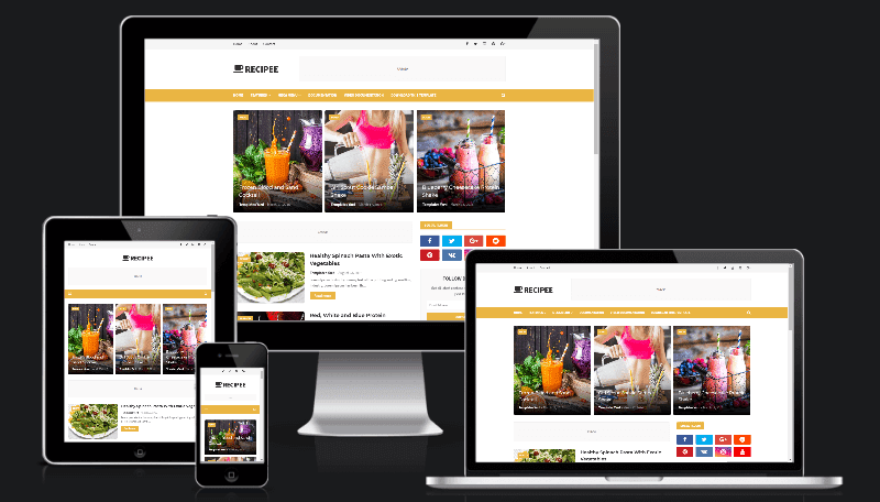 Recipee Food Blogger Template is i of the best in addition to cleanest designs of tin hand the axe e'er convey fo Free Download Recipee Food Blogger Template