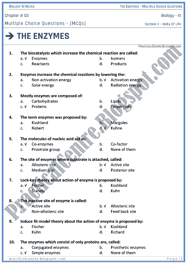 The Enzymes - Multiple Choice Questions (MCQs) - Biology XI