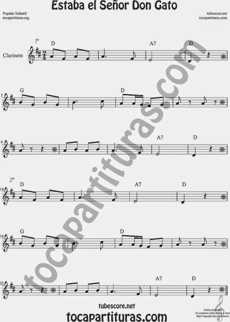 Estaba el Señor Don Gato Partitura de Clarinete Sheet Music for Clarinet Music Score