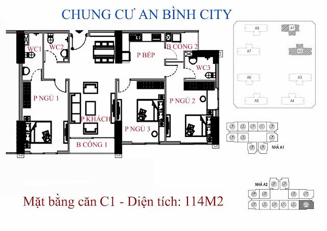 căn hộ C1 diện tích 114m2