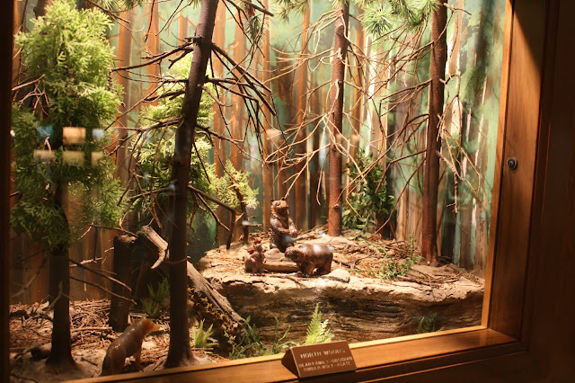 Bears carved from rock in diorama at Lizzadro Museum of Lapidary Art in Elmhurst, IL