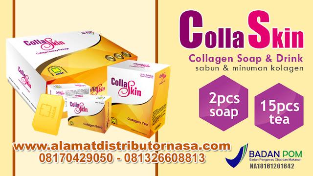 Kandungan zat aktif CollaSkin Collagen Soap adalah sebagai berikut: 1. Collagen Jenis collagen yang digunakan bersumber dari tulang sapi lokal indonesia dan telah mendapat sertifikasi halal MUI (Majelis Ulama Indonesia). Kandungan collagen dalam sabun sangat tinggi hingga mencapai 1300 Mg/sabun. Collagen ini berfungsi sebagai nutrisi kulit untuk meregenerasi sel sehingga dalam waktu cepat kulit lebih kenyal, padat dan awet muda secara alami.