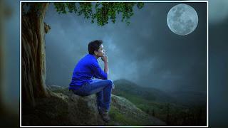 Picsart Manipulation Lonely Boy Sitting in Moon Light