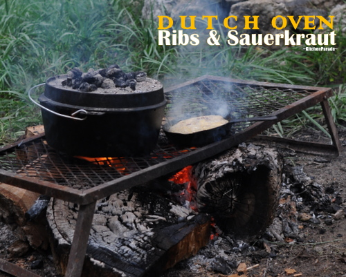 Ribs & Sauerkraut ♥ KitchenParade.com, cooked in a slow cooker or in a 'real' Dutch oven (pictured) over coals or an open fire.