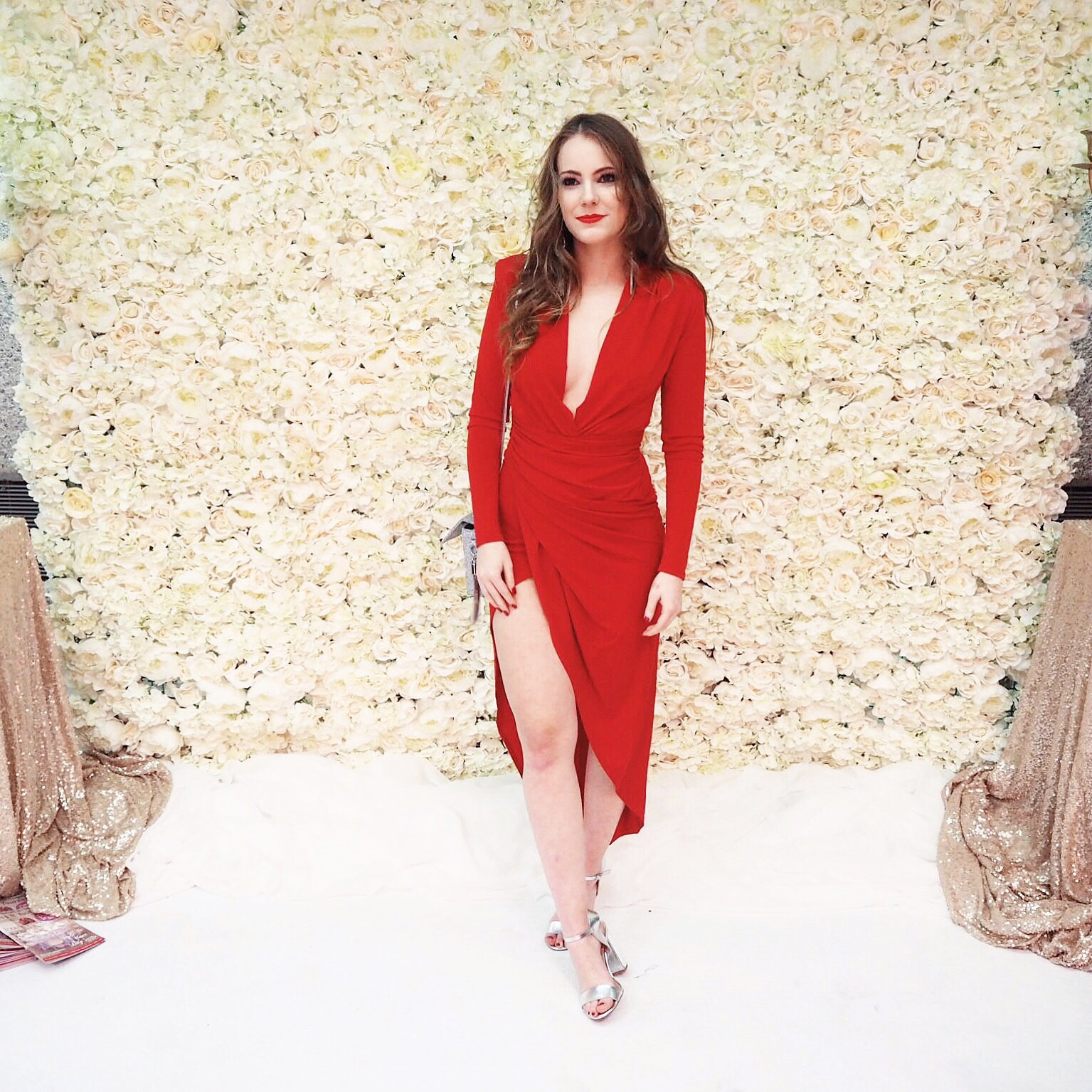 gala event, go glam, gala attire, goglam gala, go send, red dress, embrace pale skin, plunge red dress, wrap dress, red asos dress